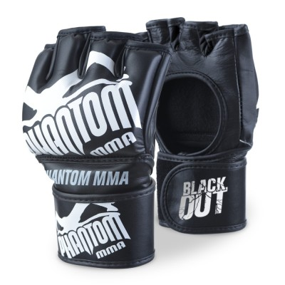 "Phantom Athletics MMA Handschoenen ""Blackout PU"" - Zwart/Wit"